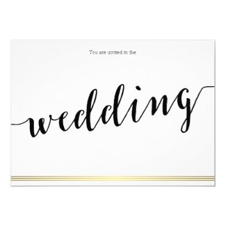 Black And White Wedding Invitations Gold Lines
