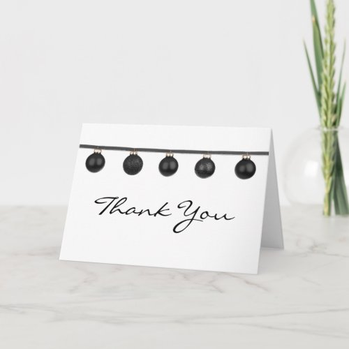 Black Baubles on Ribbon Christmas Thank You Note