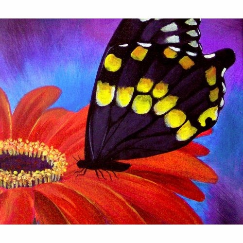 Black Butterfly Daisy Painting - Multi bag