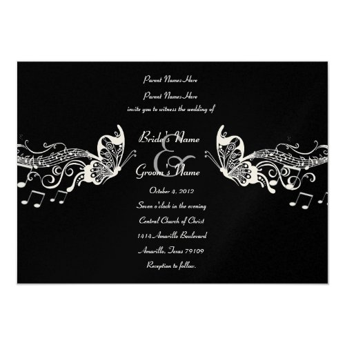Black Butterfly Music Fidelity Wedding Invitations