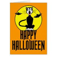 Black Cat & Full Moon - Greeting Card