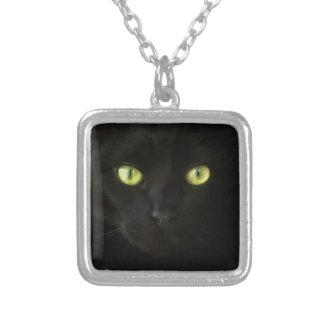 Black Cat Green Eyes Necklace