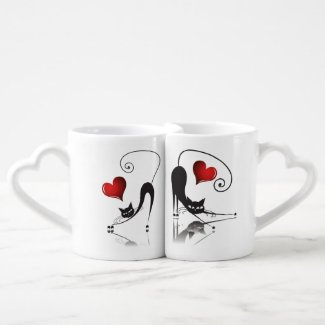 Black Cat Lovers' Mug Set