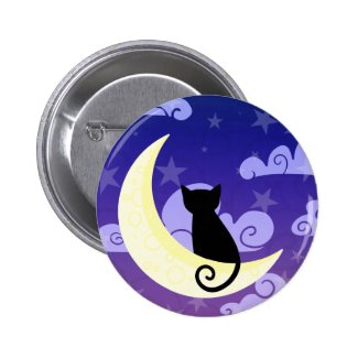 Black Cat Night Sky Button