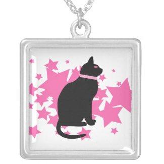 Black Cat Pink Stars Necklace