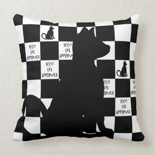 Black Cats Retro Pop Art Checkerboard CricketDiane Throw Pillow