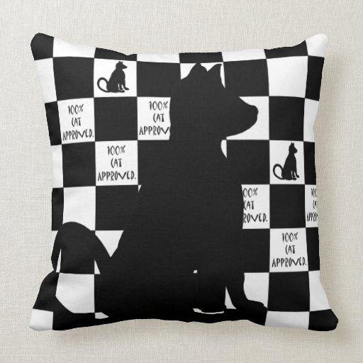 Black Cats Retro Pop Art Checkerboard CricketDiane Throw Pillow