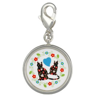 Black Cats with Flowers Charm