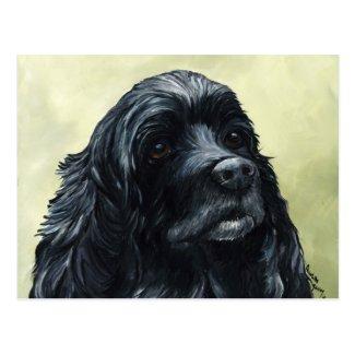 Black Cocker Spaniel Original Dog Art Postcard