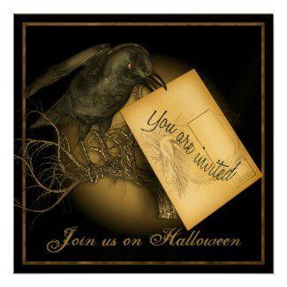 Black Crow Luxury Gold Party Invitation
