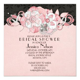 Black Damask Pink Flowers Bridal Shower Invitation
