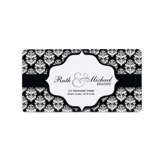 Black Damask Wedding Labels