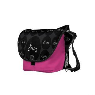 Black Diva Zebra Bling Hot Pink Messenger Bag