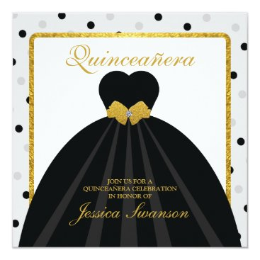 Black Formal Gown Quinceañera  with diamond bow Card