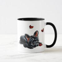 Black French Bulldog Ladybug Mug