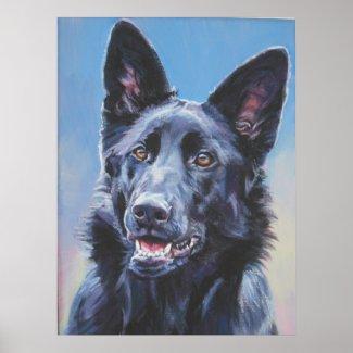 Black german shepherd Art Print