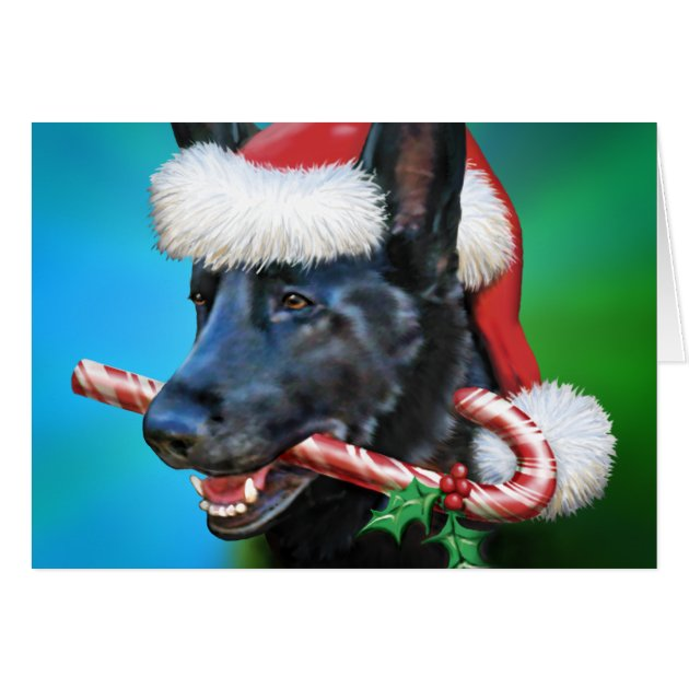 Black German Shepherd Christmas Card Zazzle