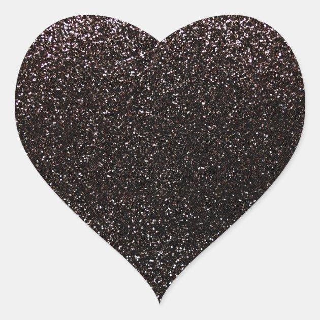 Black Glitter Heart Sticker