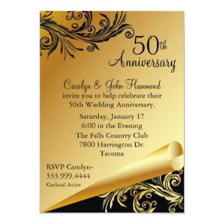 50th Anniversary Invitation Wedding Invitations Printable Golden Invites Vintage
