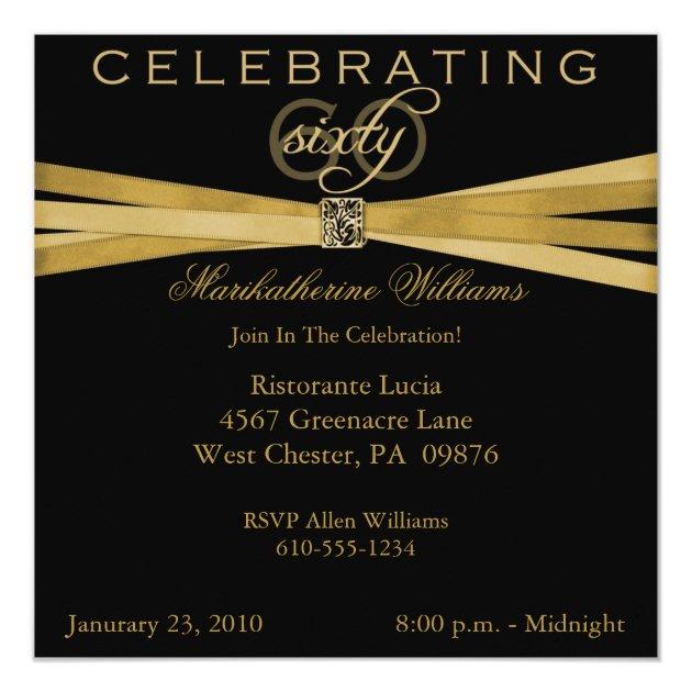 Black Amp Gold 60th Birthday Party Invitations