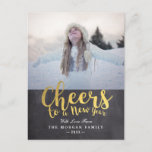 Black & Gold Cheers New Year Script Greeting Photo Holiday Postcard