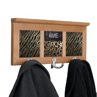 Black&Gold Cheetah/Zebra Metal Texture Coatrack