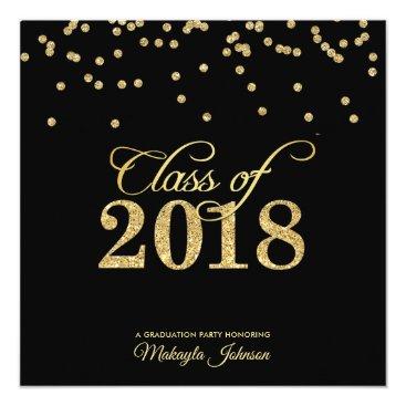 Black & Gold Polkadot Glitter Class of 2018 Party Invitation