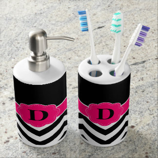 pink chevron bath accessory sets   zazzle