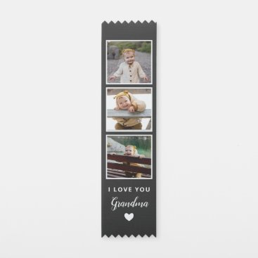 Black I Love You Grandma Heart Photo Collage Award Ribbon
