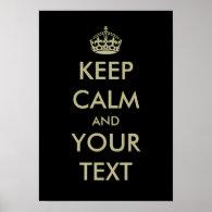 Black keep calm poster template   Customizable