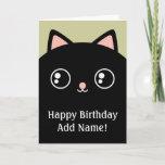 Black Kitty Cat Face Happy Birthday Custom Card