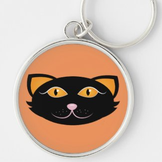 Black Cat Face Keychain