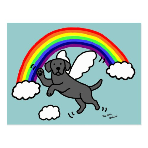 Black Labrador Guardian Angel (Rainbow Bridge) Postcard