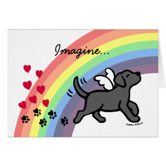 Black Labrador Hearts Rainbow Bridge Card