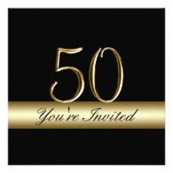 Black Metal Gold Print 50th Birthday Invitations