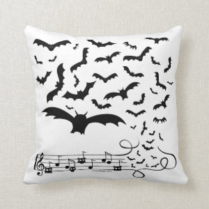 Black Music Bats Design Throw Pillow