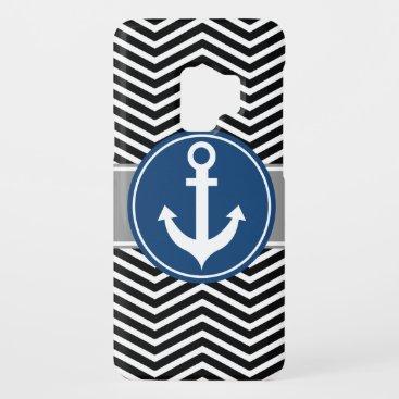 Black Nautical Anchor Chevron Case-Mate Samsung Galaxy S9 Case