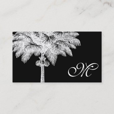 Black Palm Tree Monogrammed Business Cards