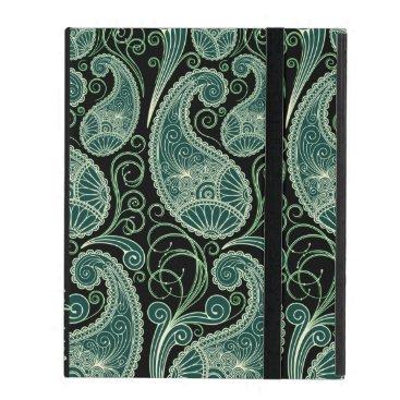 Black & Pastel Green Retro Orante Paisley Pattern iPad Case
