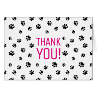 Black Paw Prints | Thank You Card