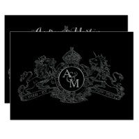 Black Pewter Lion Unicorn Regal Emblem Wedding Card