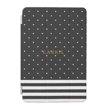 Black Polka Dot Stripe iPad Mini Cover Personalize
