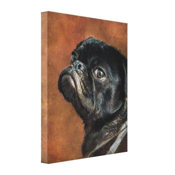 Black Pug Dog Canvas Print