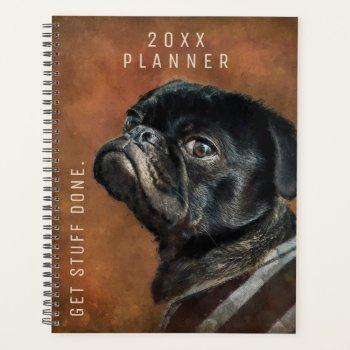 Black Pug Dog Custom Planner