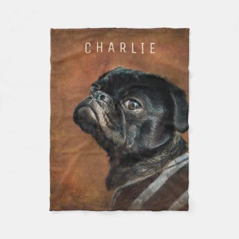 Black Pug Dog Personalized Fleece Blanket