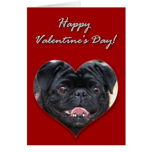 Black Pug Valentines Day Card Zazzle