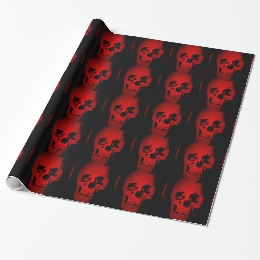 Black Amp Red Skull Christmas Wrapping Paper Zazzle