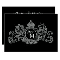 Black Silver Lion Unicorn Regal Emblem Wedding Card
