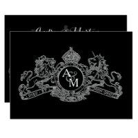 Black Silver Lion Unicorn Regal Emblem Wedding Card