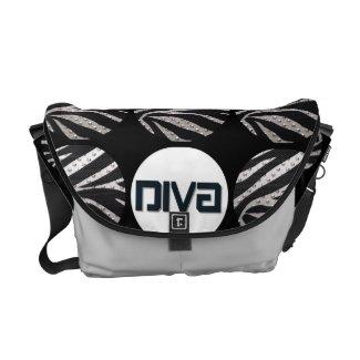 Black/Silver Metal Texture Diva Rickshaw Messenger